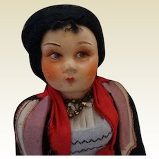"12"" 1930's Felt Doll in Costume"