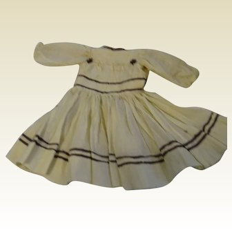 Beautiful Antique Dress; Yellow with Brown Trim