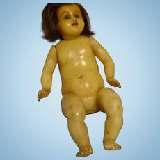 "13 1/2"" Antique Poured Wax Infant with Inserted Hairb - RARE"