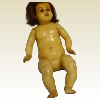 """13 1/2"""" Antique Poured Wax Infant with Inserted Hairb - RARE"""