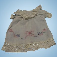 Vintage Blue Voile Dress with embroidery