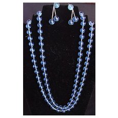 Vintage Blue Glass Necklace with Matching Earrings