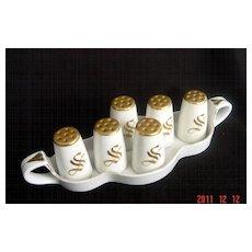 Vintage Noritake Individual Salts on Matching Handled-Tray