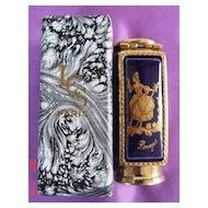 Limoges Porcelain Decorated Lipstick Holder signed LES Paris, France