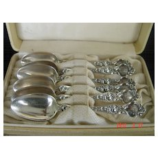 Antique R. Wallace & Son 5 O'clock Sterling Spoons - Violet Pattern
