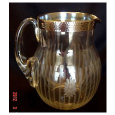 Antique Art Nouveau Etched Glass Lemonade Pitcher with Sterling Overlay Band