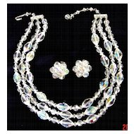 Vintage Aurora Borealis 3-Strand Necklace w/Matching Earrings