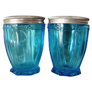 Pair Woodworth Karess Cold Cream Jars
