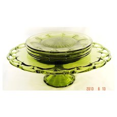 Blown Glass Pedestal Cake Platter with Heisey Dessert Plates