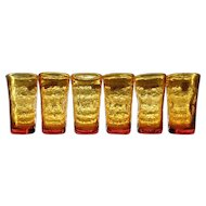 Pilgrim Amber Crackle Glass Tumblers