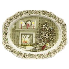 """Johnson Brothers Large """"Merry Christmas"""" Oval Platter"""