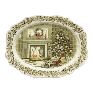 """Johnson Brothers Large """"Merry Christmas"""" Oval Platter England"""