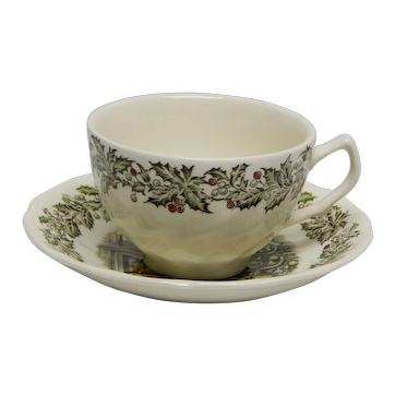 """Johnson Brothers """"Merry Christmas"""" Pattern Flat Cup and Saucer England"""