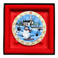 Anna Perenna Art Porcelain Christmas Ornament Frosty Snowman P Buckley Moss Box 1993