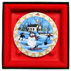 Anna Perenna Art Porcelain Christmas Ornament Frosty Snowman P Buckley Moss Box 1993