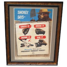 Smokey the Bear 1949 Fire Prevention Poster