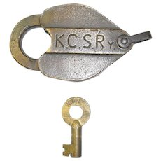 Kansas City Southern Brass Heart-Shaped Lock & Key