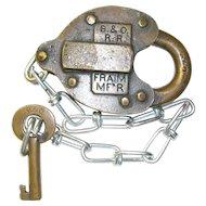 Baltimore & Ohio Railroad Brass Heart Shaped Lock & Key