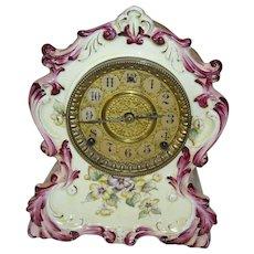 Beautiful Porcelain Pansy Mantel Clock