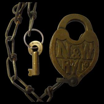 Norfolk & Western Railroad Fancy Brass Lock & Key