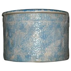 Blue & White Good Luck Sponged Butter Crock