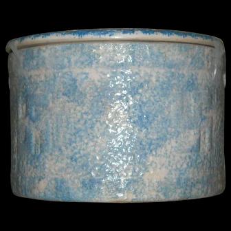 Blue & White Good Luck Sponged Butter Crock