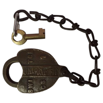 Union Pacific Brass Heart Shaped Lock SW 1-CS-1