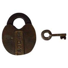 Toledo & Ohio Central Railroad Car Lock & Key