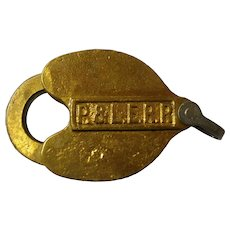 Pittsburgh & Lake Erie Slaymaker Brass Lock & Key