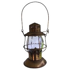 "Santa Fe ""Adams"" Adlake Tall Globe Bronze Presentation Lantern"