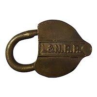 Louisville & Nashville Railroad Brass Heart Shaped Lock