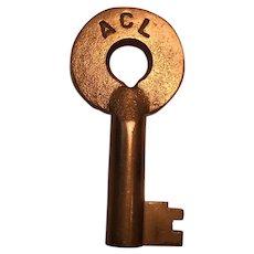 Atlantic Coast Line Brass Switch Key