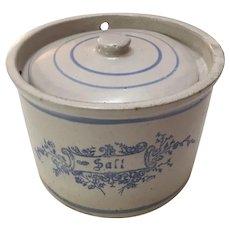 Blue & White Stenciled Salt Crock