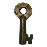 New York Central System Railroad Brass Switch Key