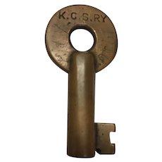 Kansas City Southern Railroad Brass Switch Key