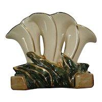 McCoy White & Gold Triple Lily Vase