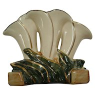 McCoy White & Gold Triple Lily Vase