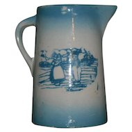 Blue & White Dutch Landscape Scene Pitcher