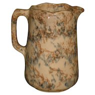 1890's English Scalloped Spongeware Milk Pitcher