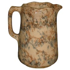 1890's English Scalloped Spongeware Milk Pitcher