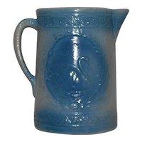 Blue & White Swan Stoneware Pitcher