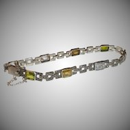 Art Deco Sterling Silver Bracelet with Multi-Colored Gems