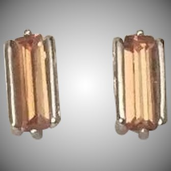 Silver and Ginger Colored Stone Earrings