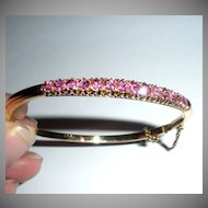 18K Bangle Bracelet with Channel Set Pink Tourmalines