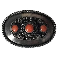 Vintage Sterling Silver and Coral Pin