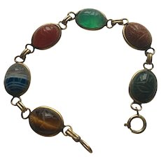 Scarab Bracelet with Six Gem Inserts