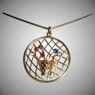 Pretty Basket Medallion Jeweled Pendant Necklace in 14K Gold
