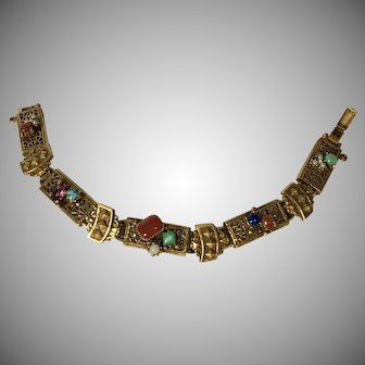 Lovely Goldtone Bracelet with Assorted Colored Stones