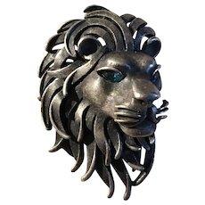 Silvery Trifari Lion Pin with Blue Eyes