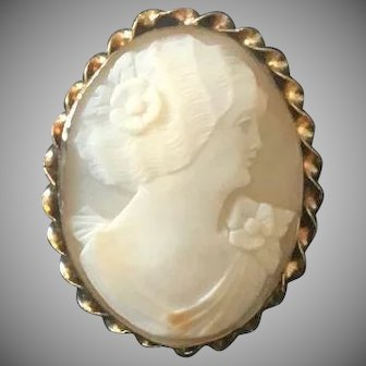 White Shell Cameo Brooch